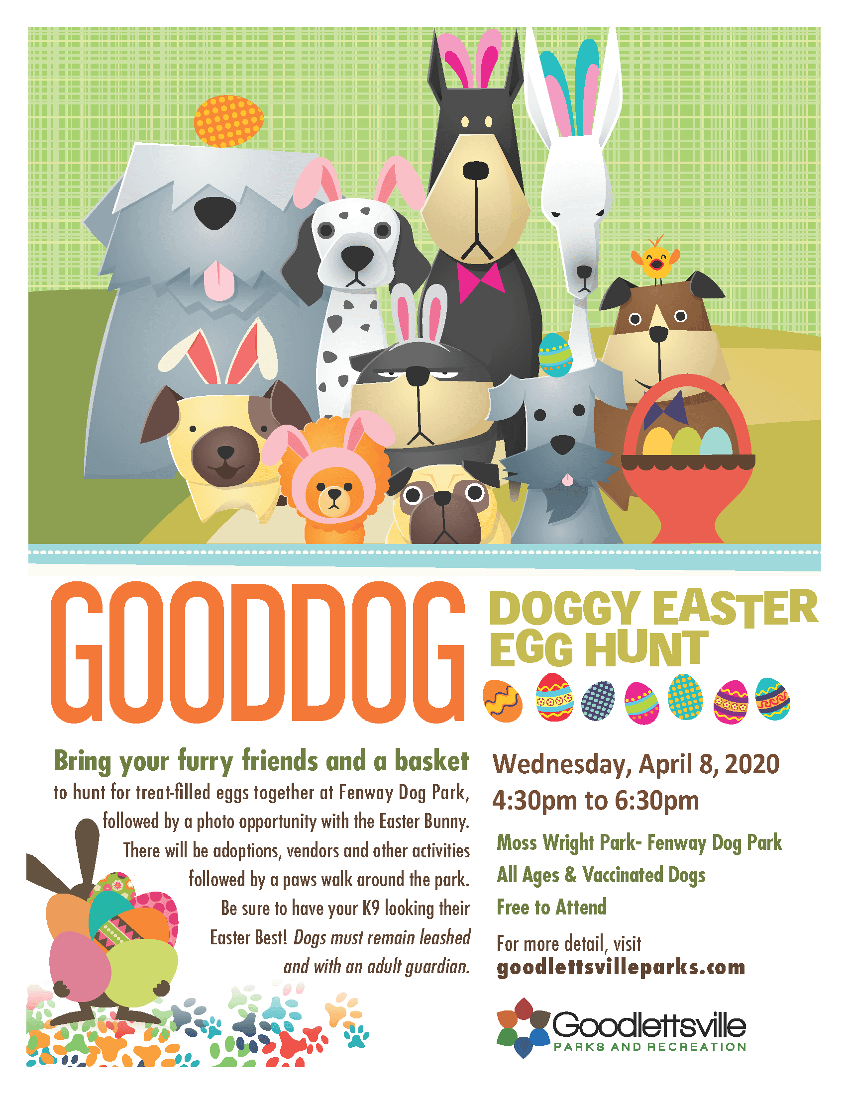 GoodDOG flyer with dogs holding Easter basket