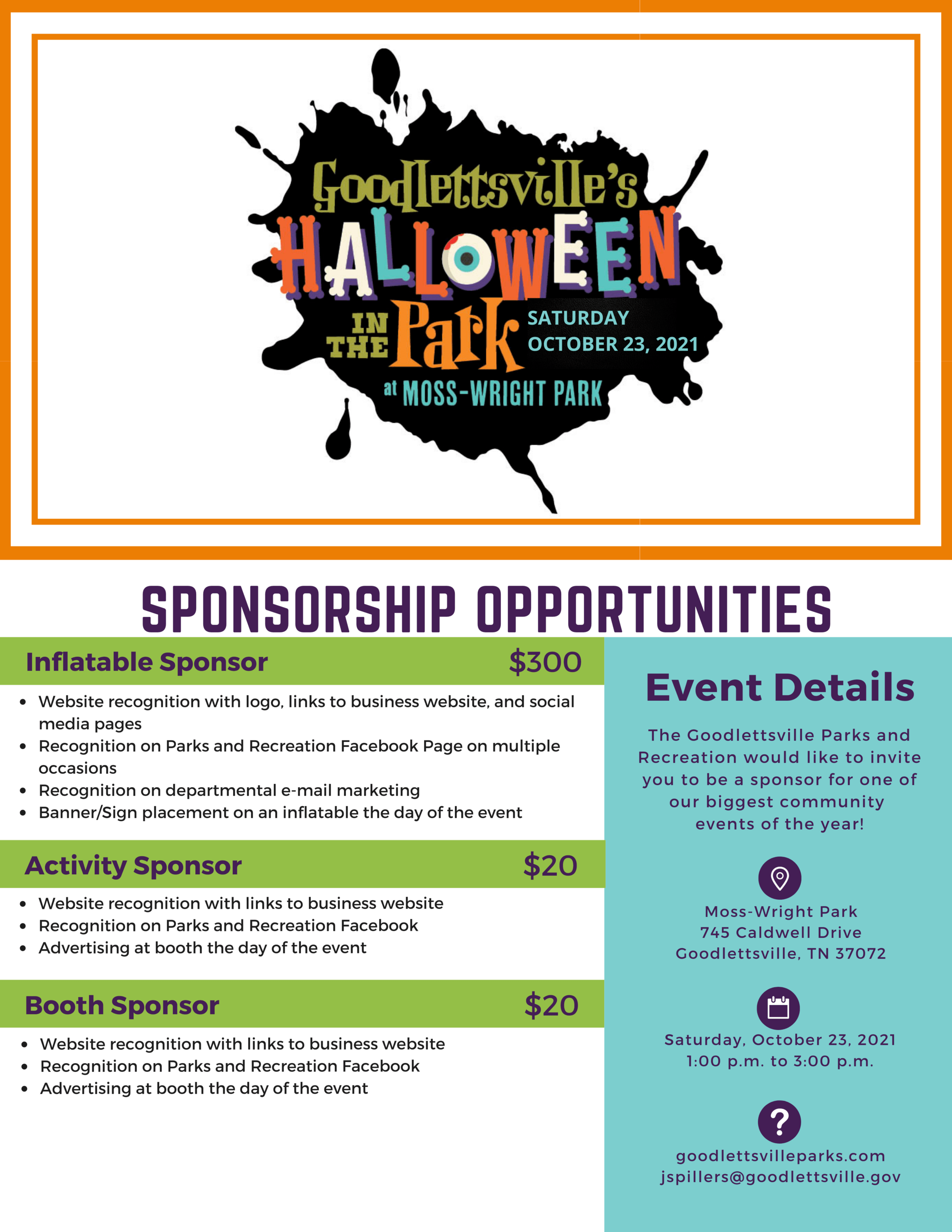 2020 Halloween in the Park Sponsor Menu